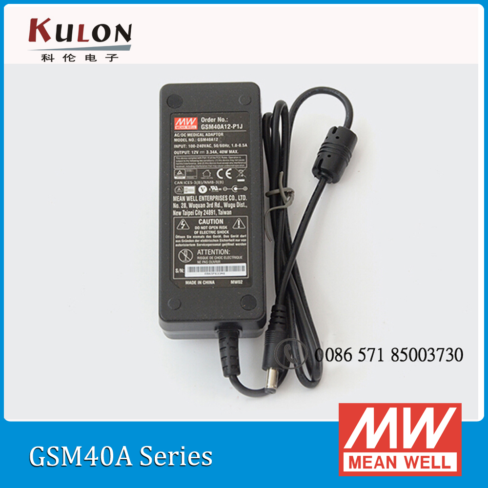 Original Meanwell GSM40A12-P1J 40W 12V 3.34A AC/DC high reliablity Green Medical Adaptor selling hot mean well gsm40a12 p1j 12v 3 34a meanwell gsm40a 12v 40w ac dc high reliability medical adaptor