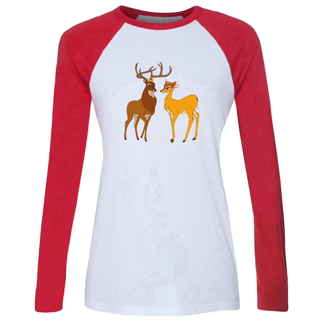US $10 07 OFF Katun Wanita T shirt lucu kartun Rusa Bambi Faline Raja dan Ratu pasangan Raglan Panjang Lengan Gadis T shirt Kasual Wanita Tee Tops