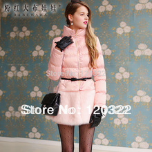 Dabuwawa Original Women Clothes Brand 2016 New Fashion Winter Jacket Pink Thickening Slim Fur Long Women Parka Coat Wholesale