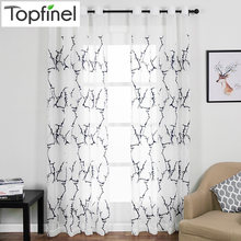 Topfinel Branch Pattern Embroidered White Sheer Curtains Window Tulle Curtains for Living Room Bedroom Tulle for Kitchen Cafe(China)
