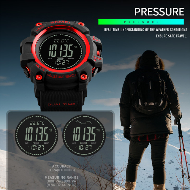 New Mens Sports Watches SKMEI Brand Outdoor Digital Watch Hours Altimeter Countdown Pressure Compass Thermometer Men Wrist Watch 4