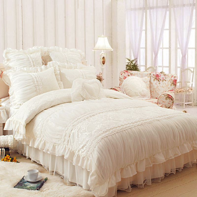 Royal lace edge ruffled bed sets full queen king size girl princess wedding jacquard bedclothes bedskirt