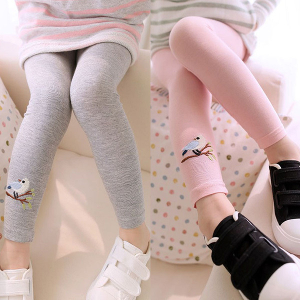 2017 New Kid Toddlers Warm Leggings Baby Girl Bird Pattern Stretchy Pants Trousers