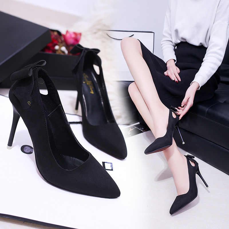 2019 ilkbahar sonbahar yeni kadın tek ayakkabı Kore moda siyah sivri yüksek topuklu vahşi süet sığ ağız yay kadın ayakkabısı