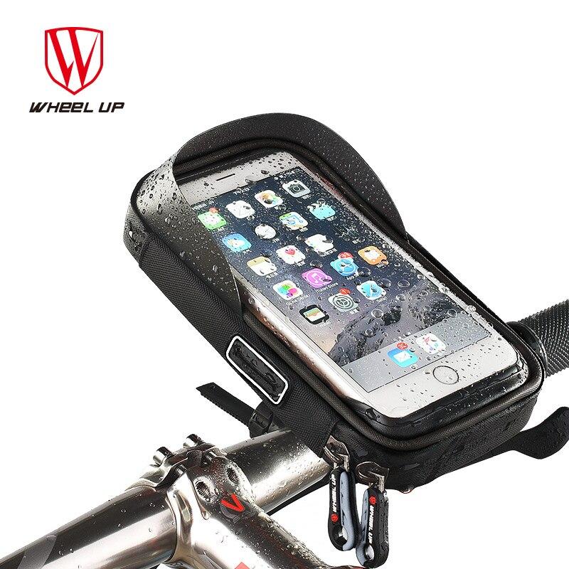 Velosipēdu velosipēdu telefona soma lietus necaurlaidīga TPU skārienjūtīgā mobilā tālruņa turētāja velosipēdu roktura somas