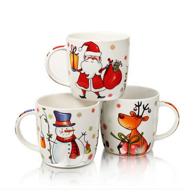 2015 Top Grade Ceramic Christmas Mugs 400ml Santa Claus Christmas Snowman Deer Unique Ceramic Coffee Mugs with Gift Box