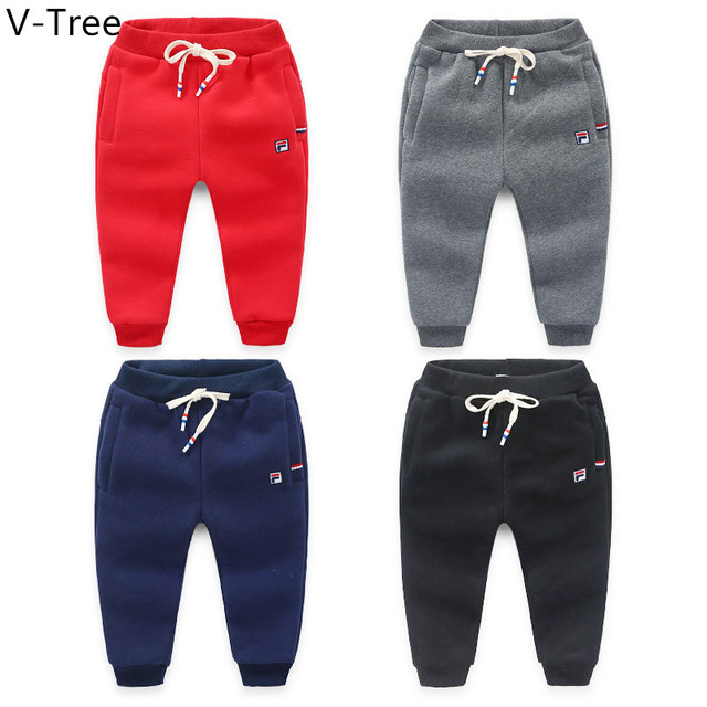 Winter Boys Cotton Velet Pant Infant Children Thick Warm Sports Trouser Toddler Solid Padded Trouser Baby Kids Soft Casual Cloth