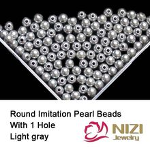 Light Gray Imitation Round Pearl Beads For Jewelry Making 6mm 8mm 10mm New Resin Imitation Round Pearl Beads With Hole 18g/bag(China)