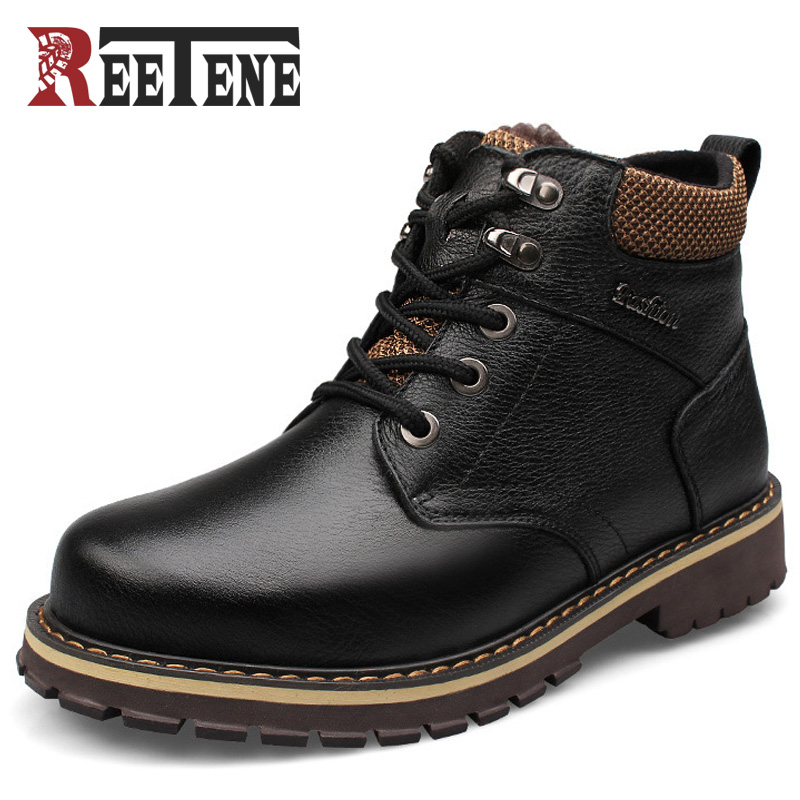 REETENE Warm Winter Boots Men Winter Men Boots Genuine Leather Ankle Boots Plush Shoes Men Warm Fur Boots Botas Hombre цена
