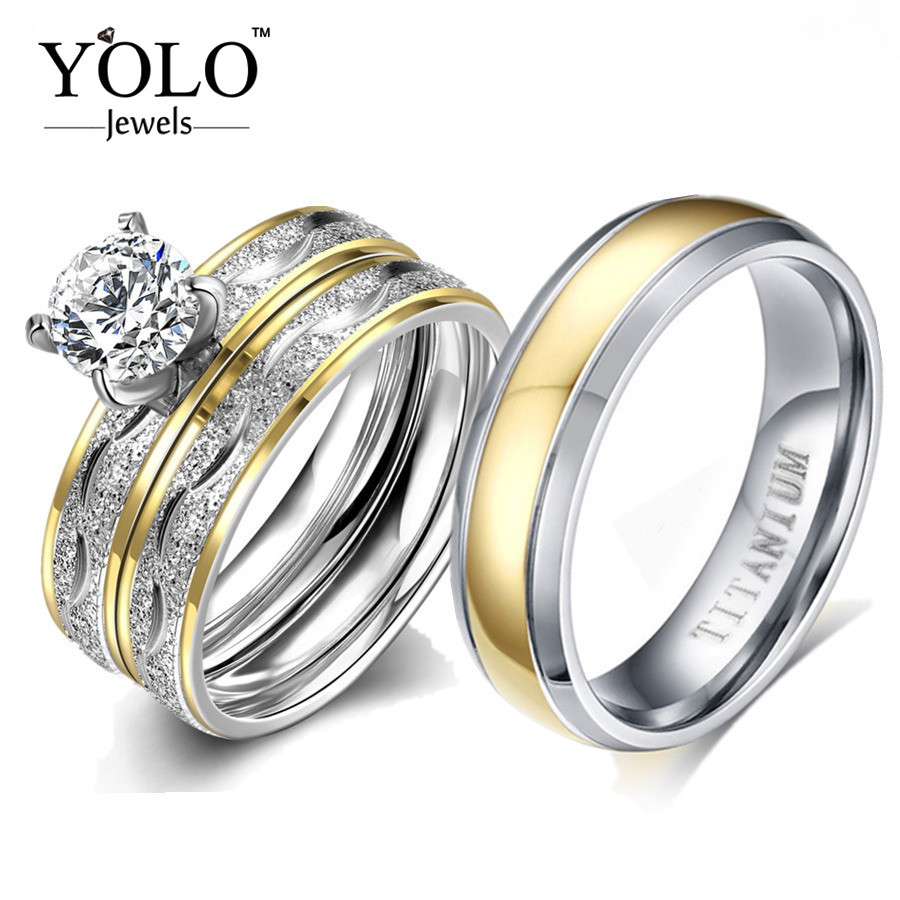 YOLO Jewels Couple Rings Cubic Zirconia Ring Set for Women Titanium Ring for Man Suitable for Wedding and Engagement Love Gift titanium steel link cubic zirconia studded couple bracelet