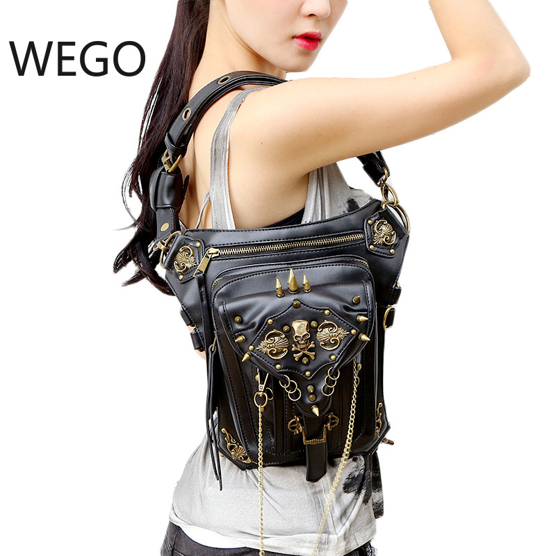 New Style Cool Punk Leather Waist Bag Retro Steampunk Bags Skull PU Leather Leg Bags Brown Rivet Crossbody Bag Phone Case HolderNew Style Cool Punk Leather Waist Bag Retro Steampunk Bags Skull PU Leather Leg Bags Brown Rivet Crossbody Bag Phone Case Holder