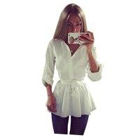 2018 Donna Primavera Estate Peplo Camicia Bianca A Maniche Lunghe Tunica Camicetta di Modo Gira-giù il Collare Tops Femminile Elegante Sottile Blusas