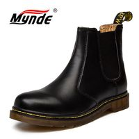 Autumn Winter Genuine Leather Ankle Chelsea Boots Men Shoes Vintage Classic Male High Quality Leather Ankle Boots Big Size 38 45