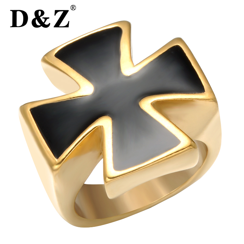 D&Z Religious Gold Cross Ring Men Titanium Stainless Steel Signet Glossy Square Finger Mens Rings for Male Jewelry Gifts