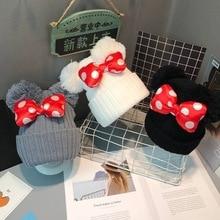 Детская шапка с Минни и бантом, вязаная шапка для маленьких мальчиков и девочек, теплая шапка с двойным помпоном