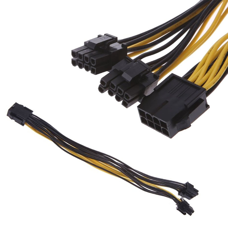 PCI-E PCIE 8P Female To 2 Port Dual 8Pin 6+2P Male GPU Graphics Power Cable  XXM8 20cm 60cm pci e gpu 8pin male to dual 8pin 2 6 male video card extension power cable 18awg y type ribbon cable