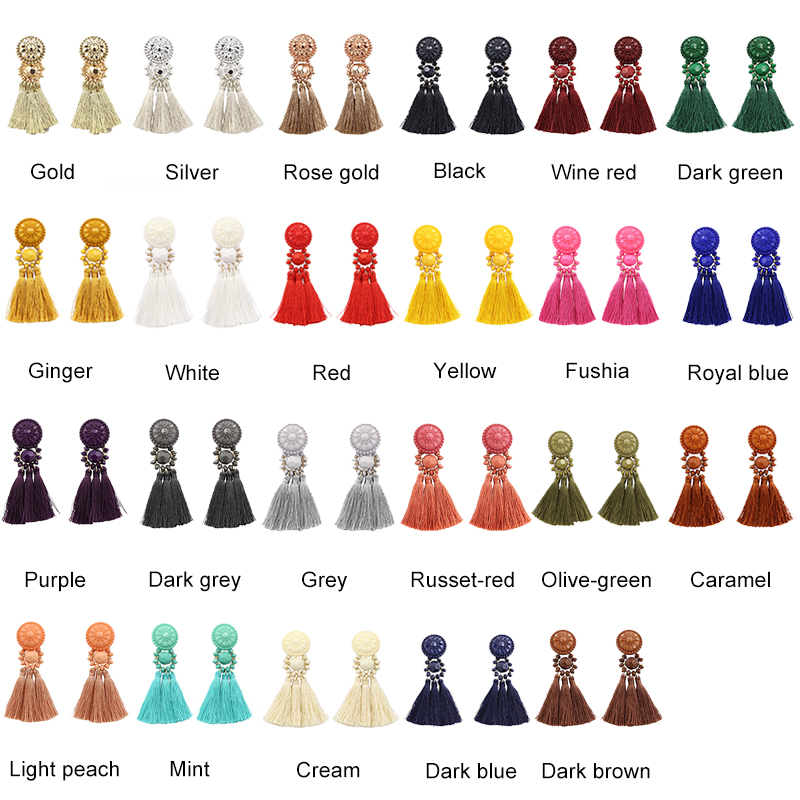 Moda de nova Prata/Ouro Brincos Borla Para As Mulheres Handmade Boemia Grânulos Do Vintage Brinco Franja Étnica Brinco de Queda de Jóias