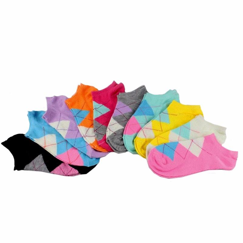 5paari madalaid puuvillaseid värvilisi sokke naistele