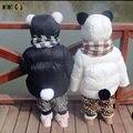 Caráter Fashion Coats Engrosse Inverno Quente Do Bebê Das Meninas Dos Meninos Do Bebê de Algodão Acolchoado Casacos Com Capuz Bonito Infantil Outwear Crianças Trajes
