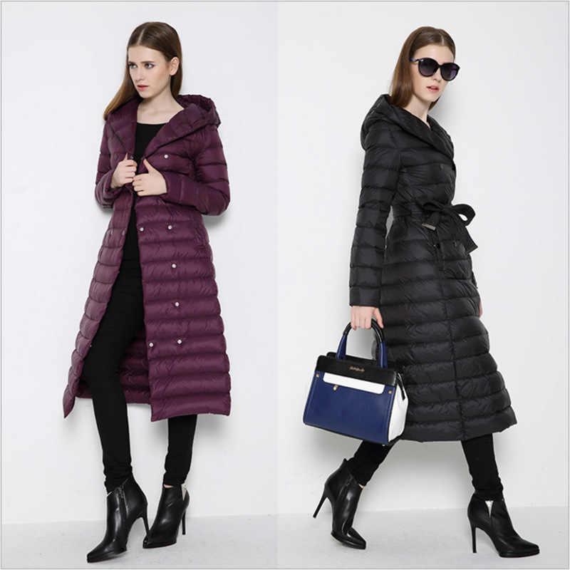 NewBnag/брендовая Длинная женская куртка-пуховик на утином пуху, зимнее пальто для женщин, 2018 перо, теплая тонкая ветровка, женская верхняя одежда с капюшоном