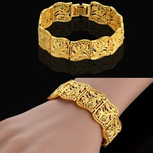 Braslet Woman Jewelry Wholesale Braclets 2017 Female 19cm Gold Color Chunky Flower Chain Link Bracelet For Women Dropshipping(China)
