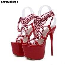 Купить с кэшбэком TINGHON Summer Sexy Women Sandals 16cm High Heel Lace up Shoes Women heels Party Shoes Strappy Sandals Women Wedding shoes
