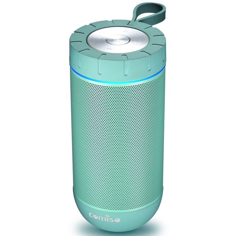 Wireless Bluetooth Speaker COMISO Portable Sound Bass Waterproof 4.2 Speake 24 Hours Playtime (Mint)