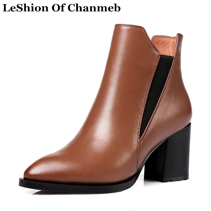 High Quality Natural Leather Ankle Boots Woman Shoes ...