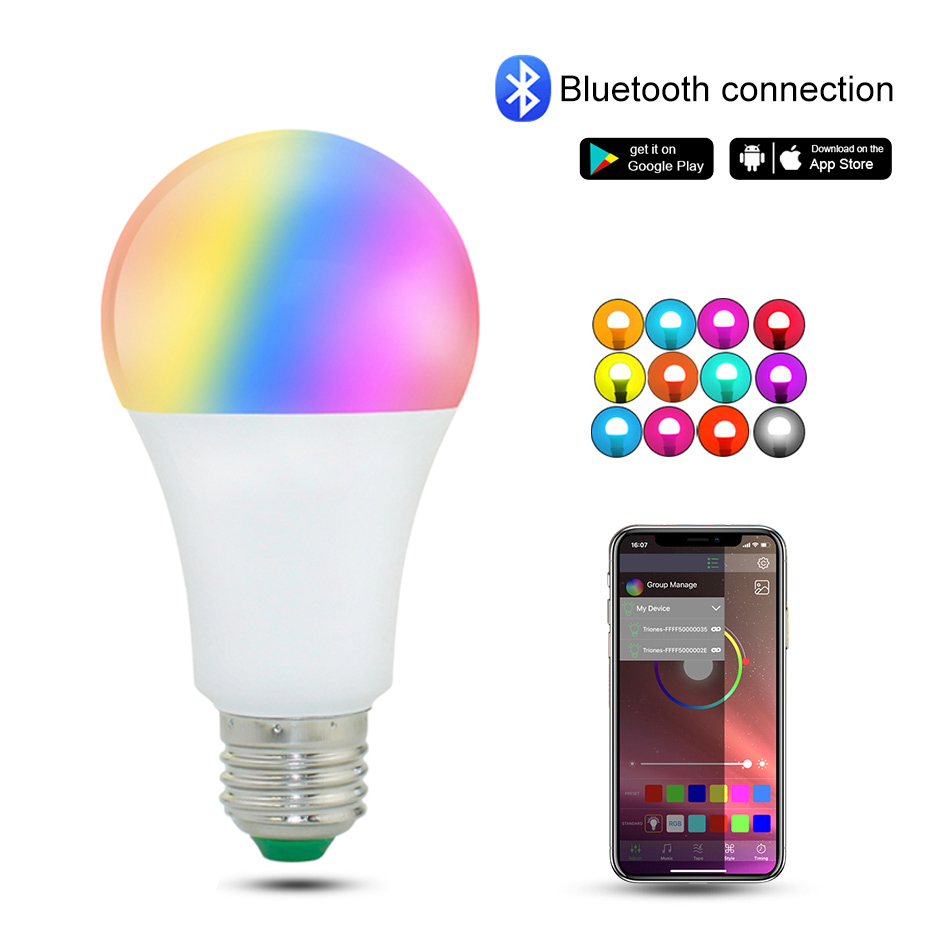 Dimmable <font><b>LED</b></font> E27 Wireless Bluetooth Smart <font><b>Bulb</b></font> <font><b>15W</b></font> 85-265V B22 RGBW <font><b>LED</b></font> Light <font><b>Bulb</b></font> Music Control 20 Modes Apply to IOS /Android image