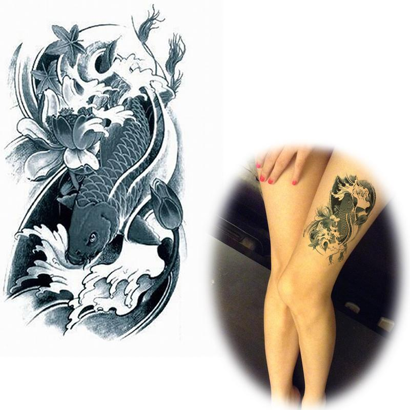 Wholesale flower arm tattoo stickers waterproof female koi for Wholesale temporary tattoos