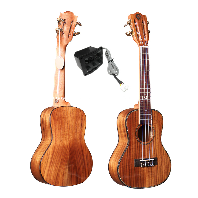 Free shipping 24 inch Concert Acoustic / Electric Full solid ukulele With Full Solid Acacia Top/Body,With 2 band LCD pickup magnum live in concert
