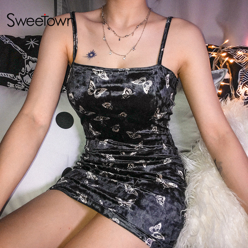 Sweetown Butterfly Animal Print Cute Spaghetti Strap Dresses Woman Party Night Off Shoulder Strapless Sexy Bodycon Summer Dress|Dresses| - AliExpress