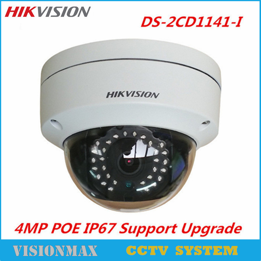 HIKVISION CCTV IP Dome Camera DS-2CD1141-I 4MP CMOS HD IP66 2.8mm PoE Wireless Network H.264 IK10 Support SD Security Camera 5mp super hd 2592 x 1944p network poe outdoor indoor security dome ip camera with hd 6mp 3 6mm lens support hikvision protocal
