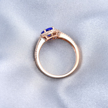 Lovely Real 14K Rose Gold Natural Tanzanite Wedding Ring Charming Diamond for Wife Anniversary Fine Jewelry Gift Wholesale