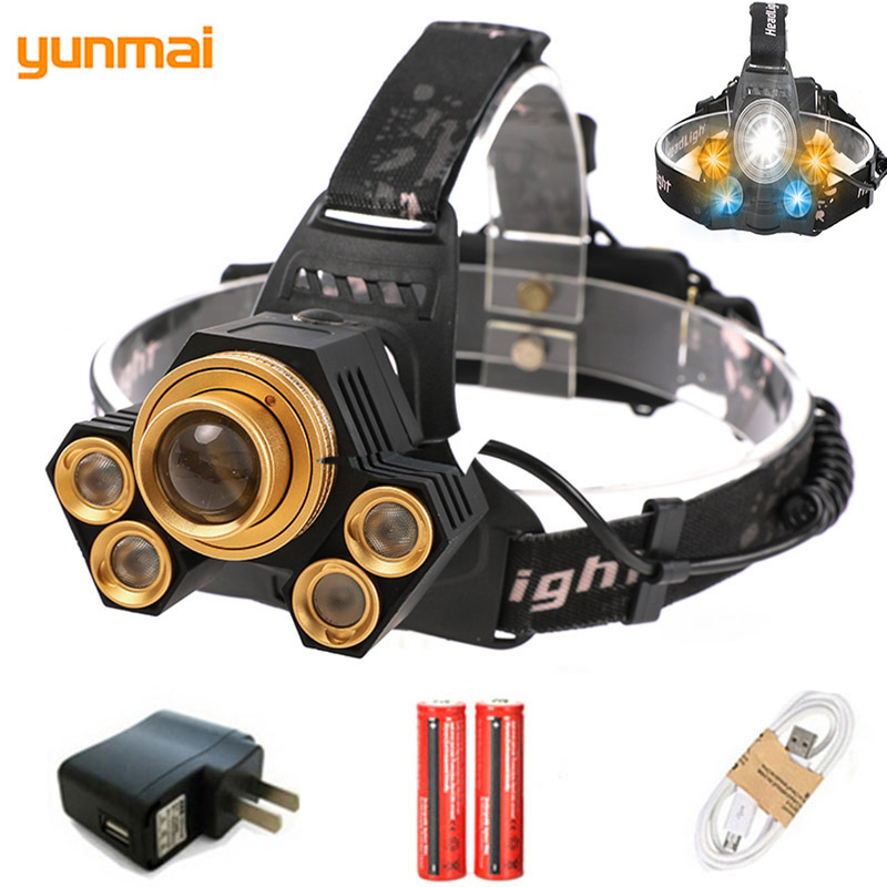 Zoom 15000LM 5 LED Headlamp Cree XML-T6 USB Headlight 3 Color Light For Camping Lamp Adjustable LED Head Flashlight With Battery hot sale 3x cree xml t6 led headlamp bike light 5000 lumen 18650 led head light 4x18650 battery pack charger bike rear light
