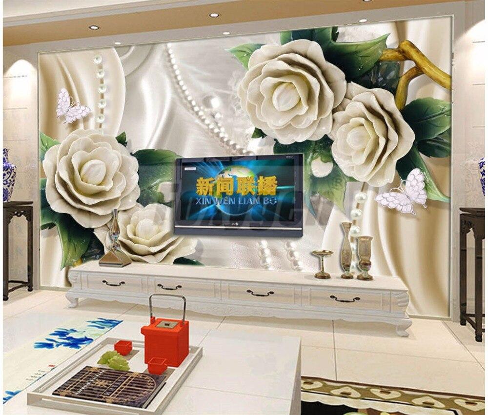 Benutzerdefinierte foto Kunst tapeten 3D Blume Entwirft TV ...