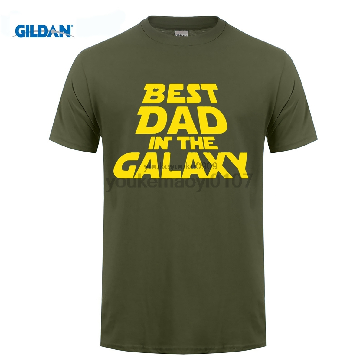 GILDAN Summer O-Neck Mens Best Dad In The Galaxy Sarcasm Fathers Day Mens Gift Idea for Dad Tee Shirt