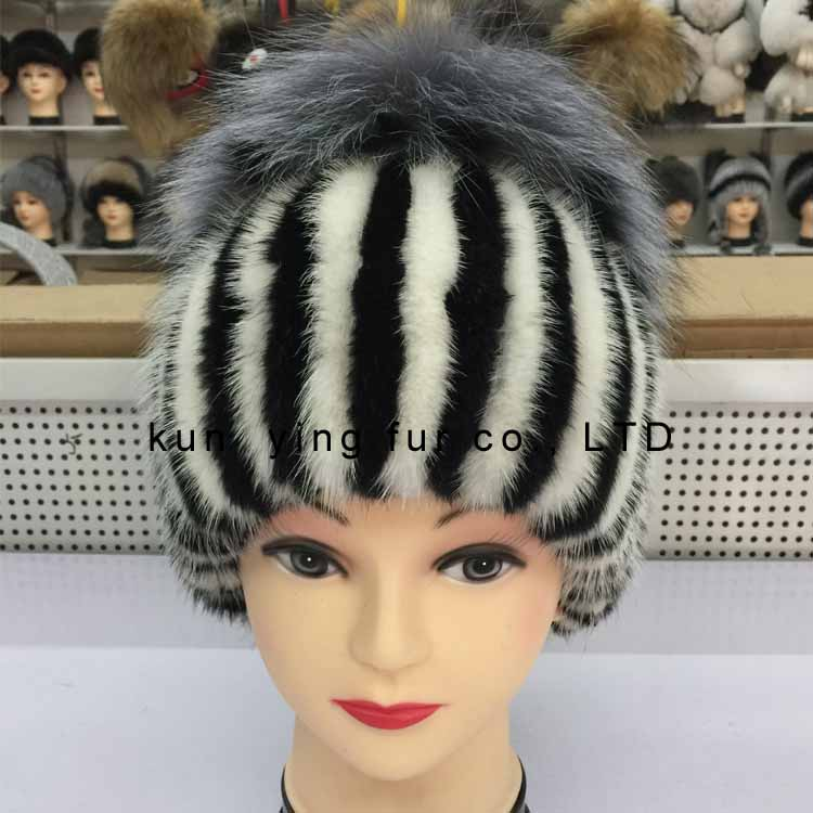 Female minks braided silver fox decoration real fur hats