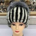 Visones femenino trenzado silver fox decoración sombreros de piel reales