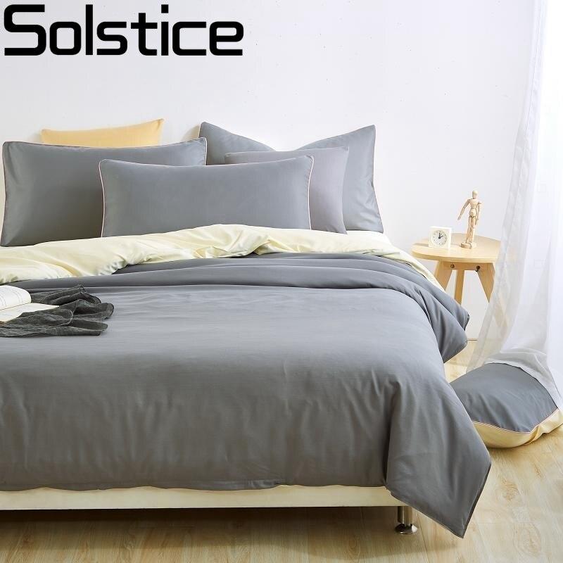 Solstice Heimtextilien Einfarbig zweifarbige Nähte 3 stücke/4 stücke Bettwäsche-sets Bettwäsche Bettwäsche Bettdecke Gesetzt Kissenbezug