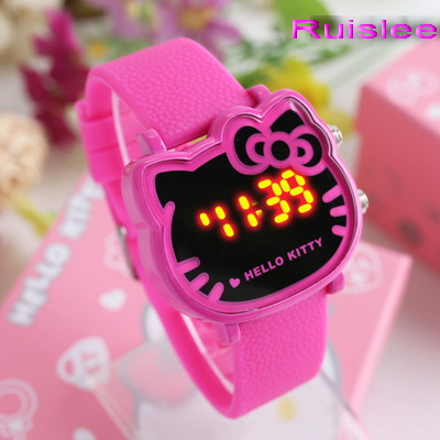 Top Quality 7 Colors Cute Hello Kitty Watch For Kids Women Fashion Casual Led Wristwatch Children