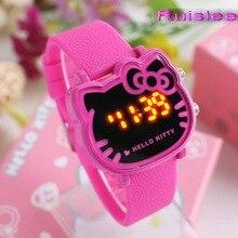 Top qualité 7 couleurs mignon hello kitty montre pour enfants femmes mode casual led montre-bracelet enfants montre horloge relogio