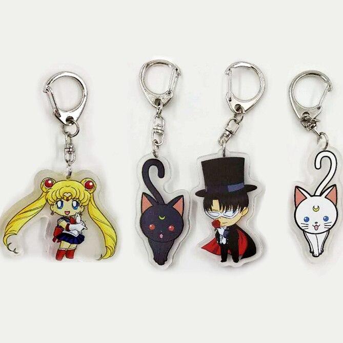 4pcs/set Sailor Moon Tsukino Usagi Chiba Mamoru Luna Cat Keychains Charms Pendant Key Ring Women Cartoon Collectible Jewelry