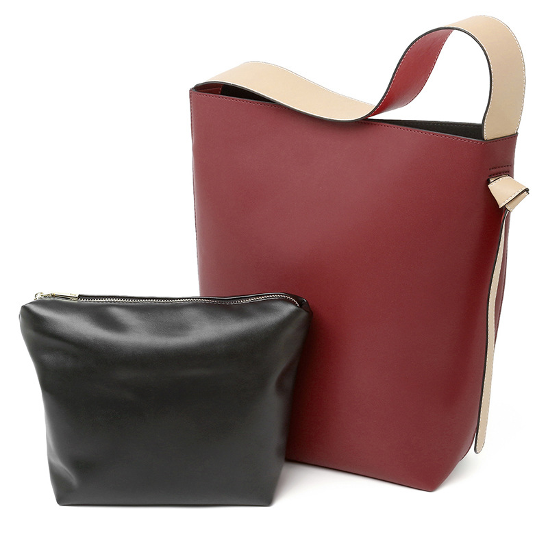 Femmes Large Haut Red Small De red Black Shopping Seau Contraste Sacs Brown Small Cuir Et 2019 Fils Large Grand Gamme Yellow Pour Sac blue Épaule orange En Large khaki Small White rice Claret Mère AxqpT5