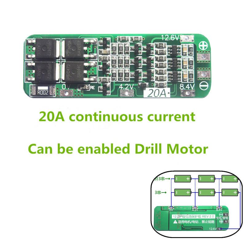 20A 3S 18650 Lithium Battery Protection Board For Drill Motor Lipo Li-ion Battery Charger Protect PCB BMS 12.6V Cell Module 5pcs lot protection circuit module 2s 7a bms pcm pcb battery protection board for 7 4v polymer lithium ion battery pack