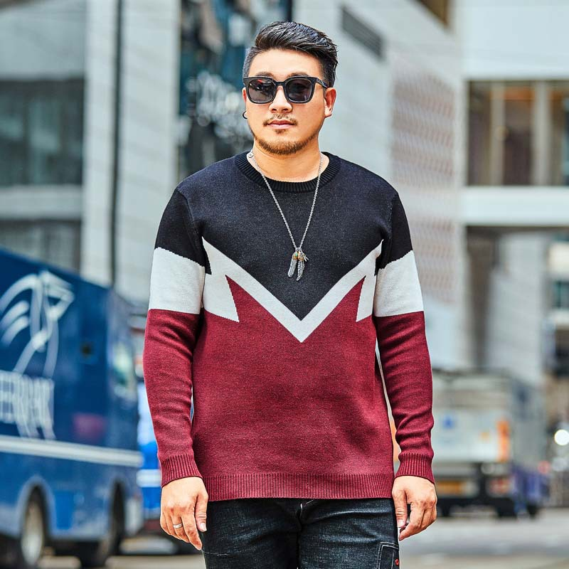 2018  new Large size XXL 6XL 7XL  Men's Fashion Wool Sweater Autumn and Winter Loose Casual Sweater Men's Printed Pullover-in Pullovers from Men's Clothing    1