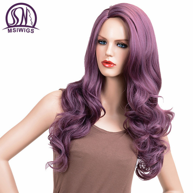 MSIWIGS Wavy Wigs Purple Hair Long Synthetic Wig for Women Side Parting Cosplay Hair Wig High Temperature Fiber