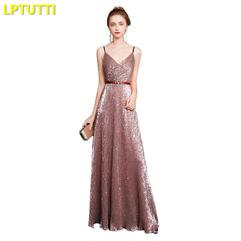 LPTUTTI Sequin Gratuating New For Women Elegant Date Ceremony Party Prom Gown Formal Gala Luxury Long   Evening     Dresses