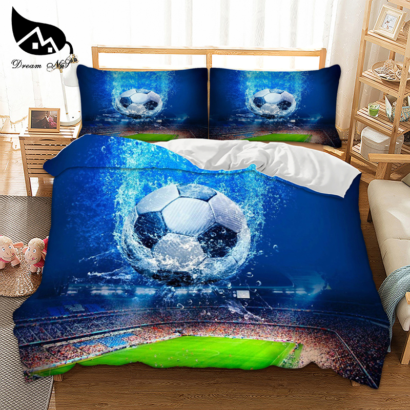 Dream NS 2/3PCS Polyester Fiber Cotton 3D Printing World Football Home Spinning Finished Product Bedding Set Sport Style