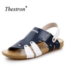 Outdoor Sandals Summer Mens Beach Shoes Rubber Bottom Leather Sandals for Male Blue Mans Sandals 2018